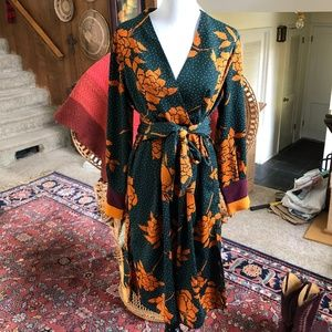 NWOT - Y.A.S.  Floral Spotted Midi Wrap Dress
